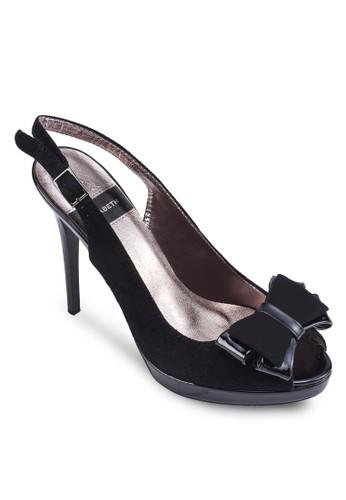蝴蝶結露趾繞踝高跟鞋, 女鞋, zalora 鞋評價鞋