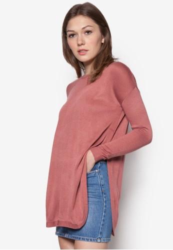 側開衩寬版針織長袖衫, zalora 台灣服飾, 服飾