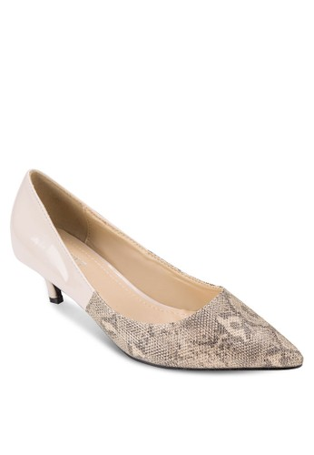 蛇紋拼接低zalora 台灣跟鞋, 女鞋, 鞋