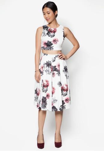 花zalora 鞋評價卉印花無袖裙裝, 服飾, 及膝裙