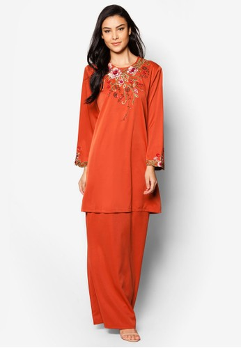 Plus Size EmbroideRed Kurung Moden from Jasmina Collection in Orange and Brown