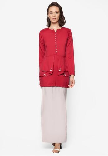 Baju Kurung Modern from Gene Martino in Grey and Red