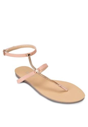 Mavis 金飾繞踝夾腳涼鞋, 女鞋zalora 台灣, 涼鞋