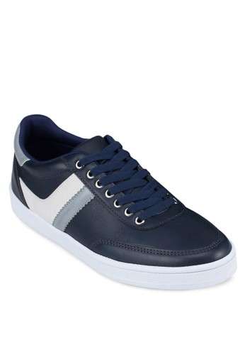 撞色仿zalora退貨皮繫帶運動鞋, 鞋, 休閒鞋