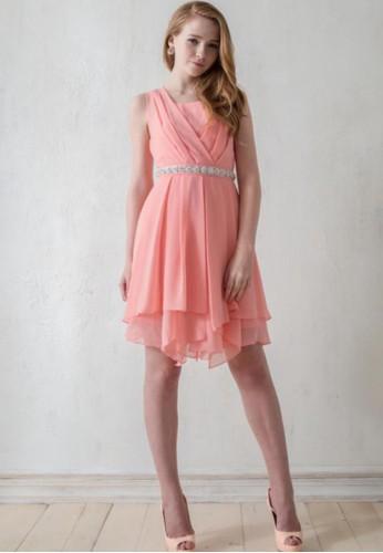 日系名媛交叉領不對稱下zalora鞋擺雪紡洋裝, 服飾, 夏日洋裝