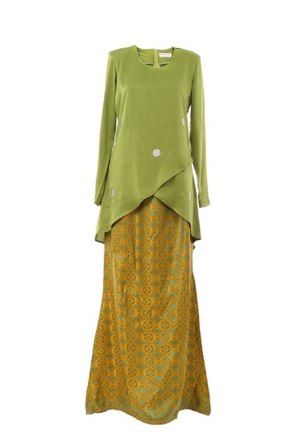 Women's Kurung Moden Dokoh Patch Green from MOTHER & CHILD in Green