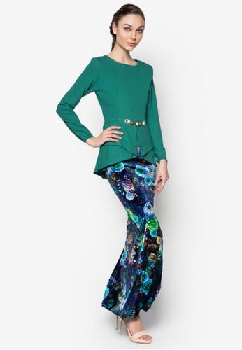 Kebaya Peplum Midi Kurung from Zuco Fashion in Green and Multi