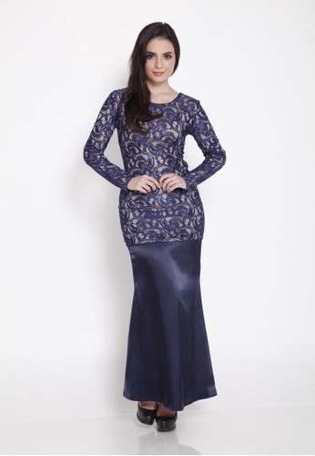 Diane Lace Mermaid Cut Kurung Moden from Camelia in Blue
