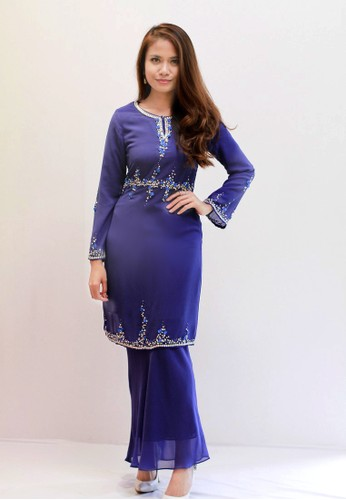 Sweetheart Embellished Waist Kurung A1180(Royal Blue) from Sweetheart in Blue