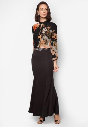 Baju Kurung Moden Floral - Vercato Reisa from VERCATO in Black