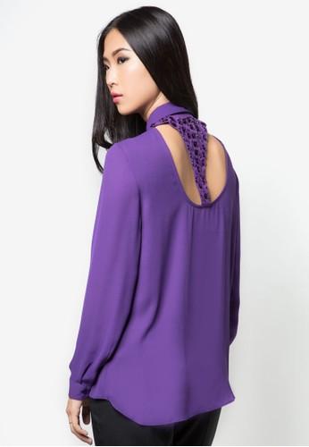背部閃飾鏤空長袖襯衫, zalora taiwan 時尚購物網鞋子服飾, 服飾