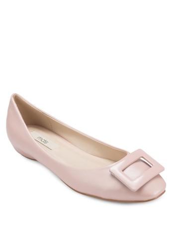 Clare 方形扣環仿zalora是哪裡的牌子皮平底鞋, 女鞋, 芭蕾平底鞋