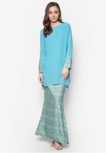 Zara Kurung from Zip & Butang in Green and Blue