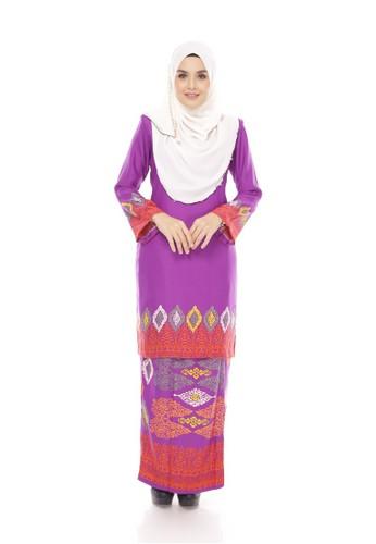 Royal Songket Kurung Modern – Purple from Maribeli Butik in Purple