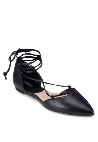 尖頭繫帶平底鞋mango taiwan, 女鞋, 鞋