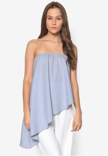不對稱下擺抹胸zalora taiwan 時尚購物網鞋子上衣, 服飾, 上衣