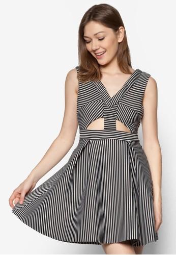 鏤空條紋連身裙, 服飾, zalora鞋洋裝