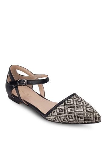 異材質側鏤空尖頭平底鞋, 女鞋, zalora 心得芭蕾平底鞋